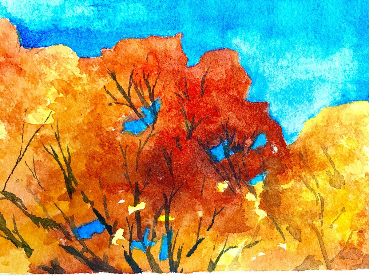 #WorldWatercolorGroup - Watercolor by Brittany Lane Allen - fall trees - Doodlewash