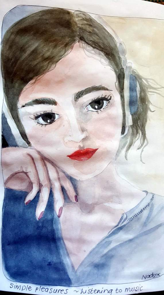 Simple pleasure – Listening to music – I painted a portrait of my daughter who loves to