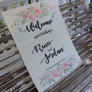 I was asked to do the welcome sign for my nephew's wedding. I was a bit nervous, being out of my c