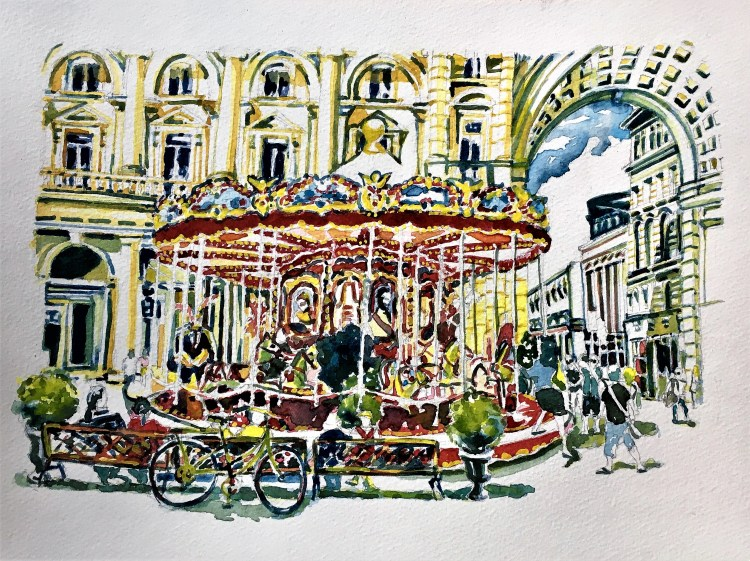 """Carosello di Firenze"" #watercolorsummer, #Firenze, #Florence, #Italy, #Charlesray, #Tra"