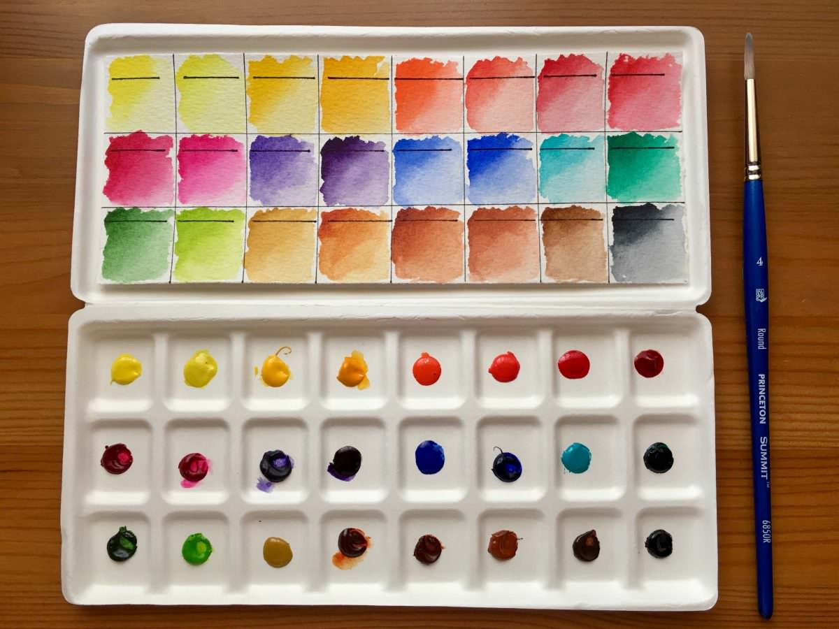 Da Vinci watercolor dot card, dot palette swatch