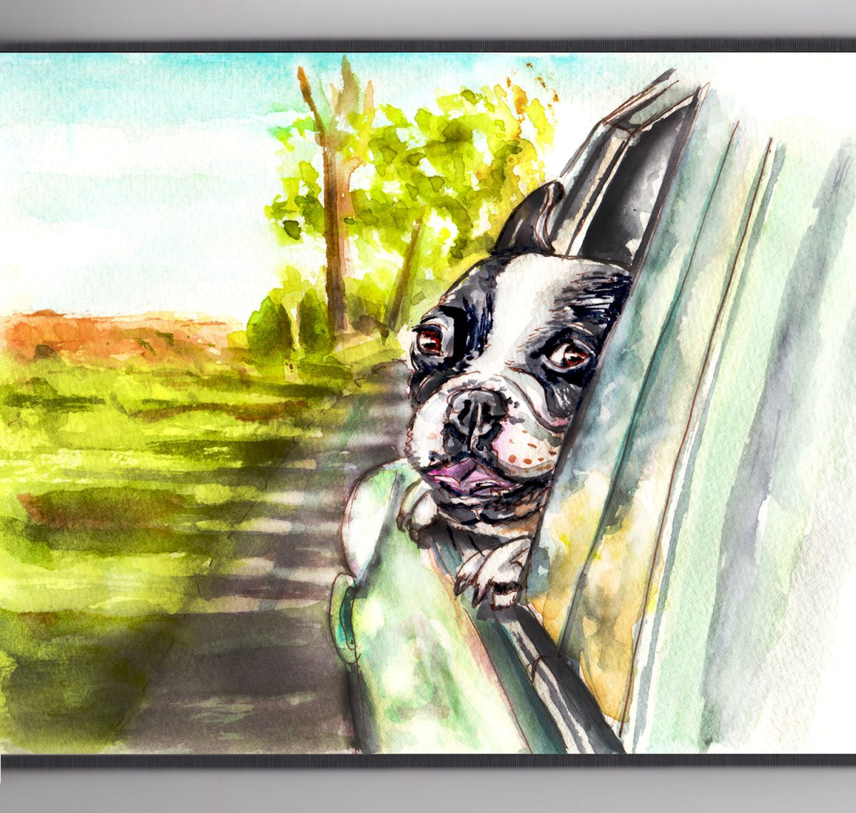 #WorldWatercolorGroup - Day 10 - A Seat By The Window - Dog Riding In Car - Doodlewash