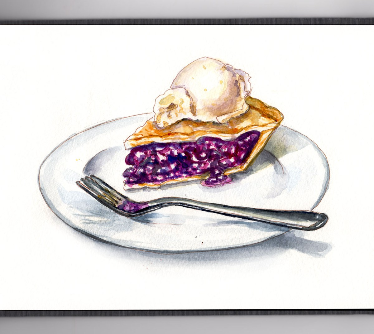 #WorldWatercolorGroup - Day 16 - A Perfectly Baked Pie - Blueberry Ice Cream - Doodlewash