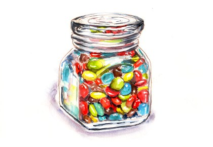 #WorldWatercolorGroup - Day 2 - Chocolate Melting In Your Mouth - M&Ms Glass Jar - Doodlewash