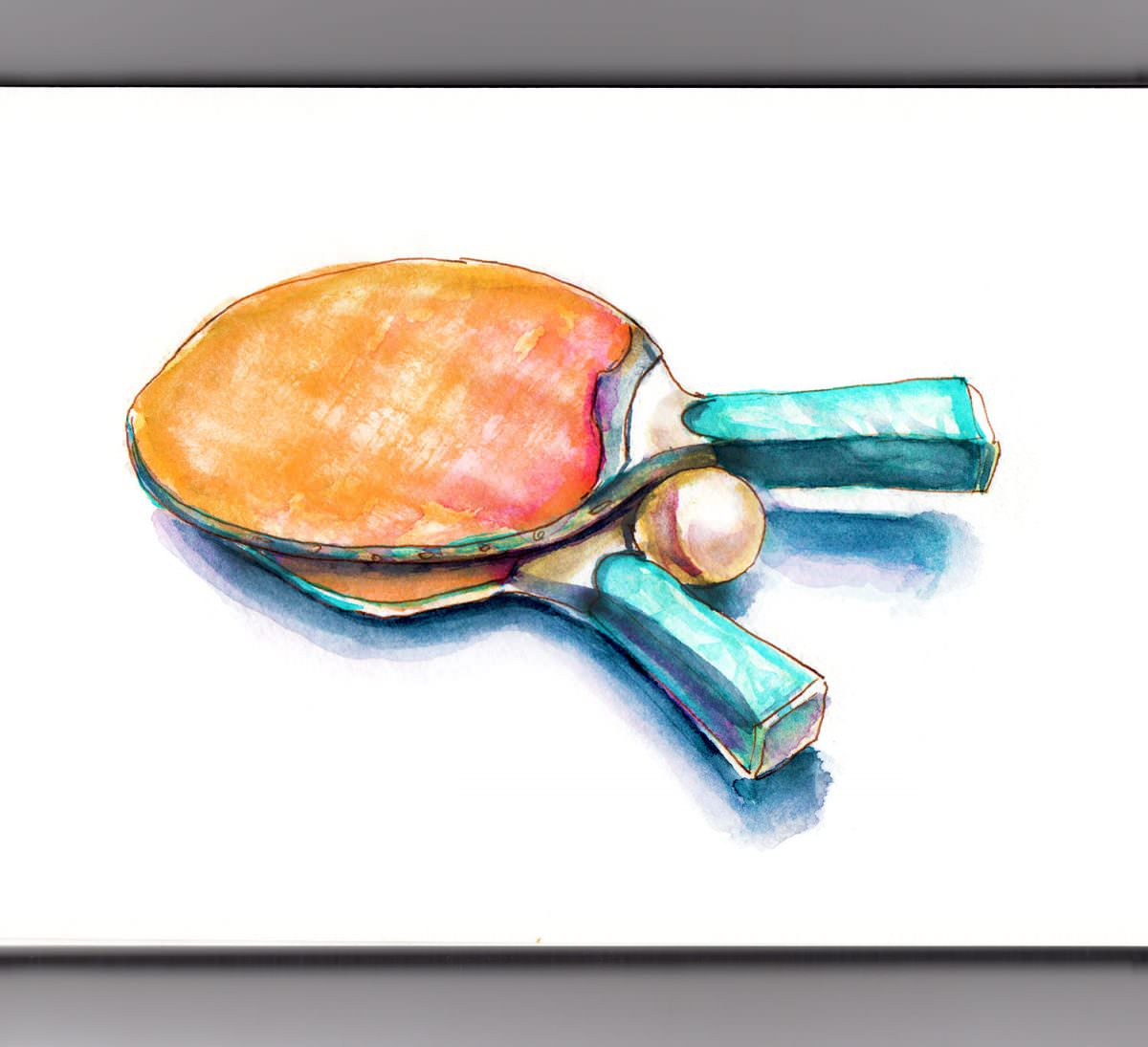 #WorldWatercolorGroup - Day 21 - Playing Games - Ping Pong - Doodlewash