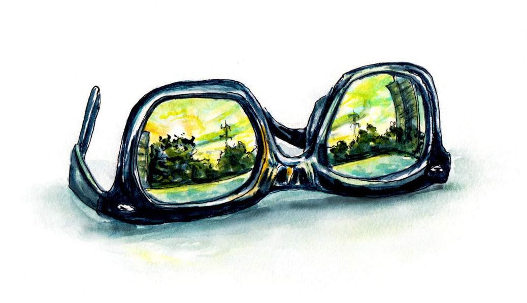 #WorldWatercolorGroup - Day 3 - Watching Sunrises And Sunsets - Sunglasses - Doodlewash