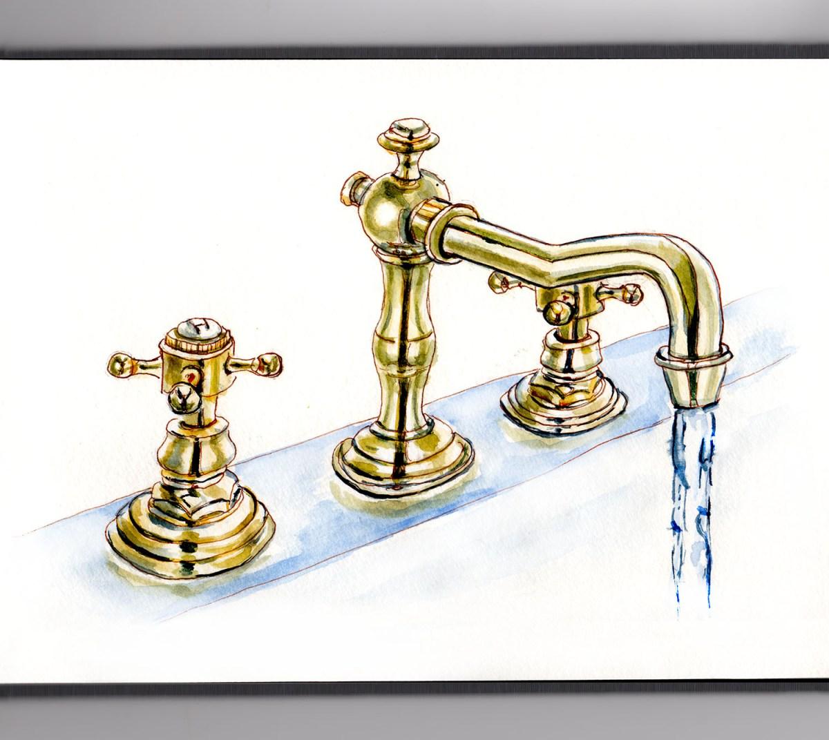 #WorldWatercolorGroup - Day 6 - A Long Hot Bath - Bathroom Faucet - Doodlewash