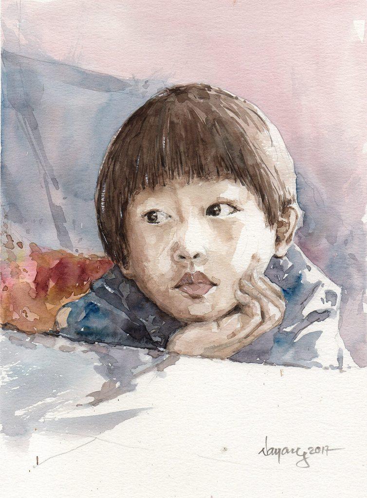 I'm not a portrait painter 🙂 But he asked me that I should paint the portrait of him.So,OK,