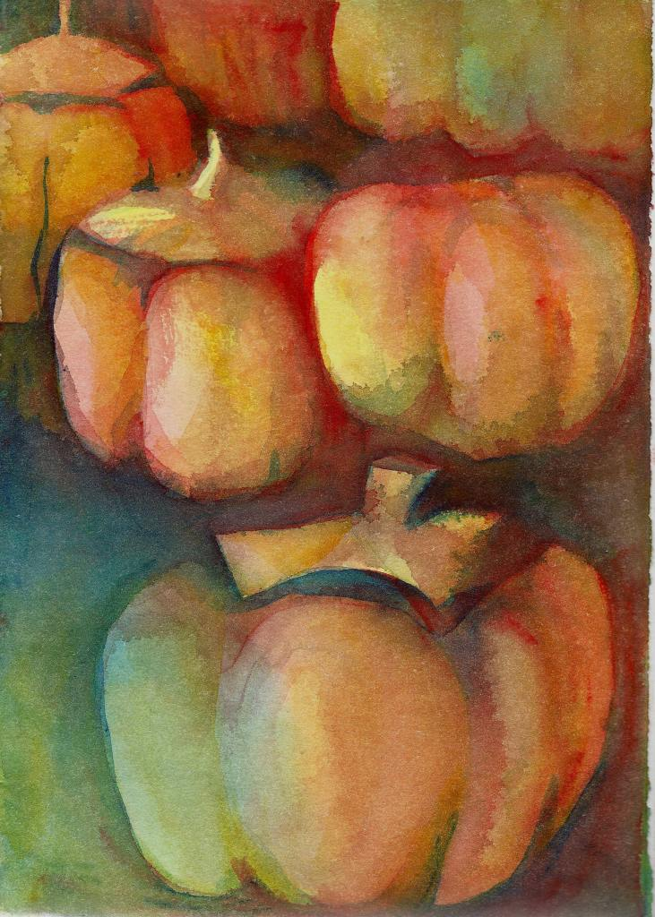Positively Pumpkins. An exercise in painting negative shapes and playing with a triad of Indian Yell