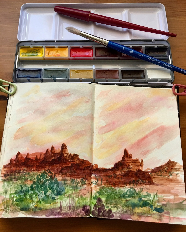 Da vinci watercolors pan set, sample painting by jessica seacrest