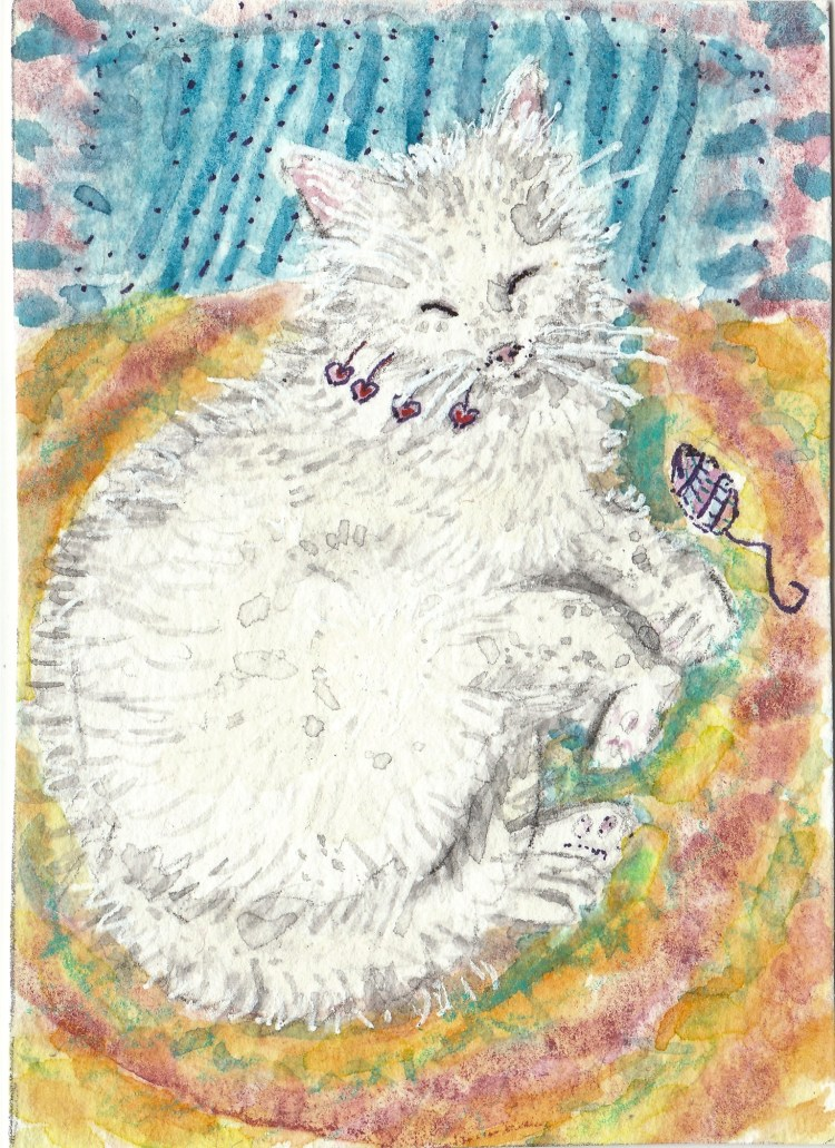 Sleeping Vanilla cat watercolor aceo kkgjfgfj