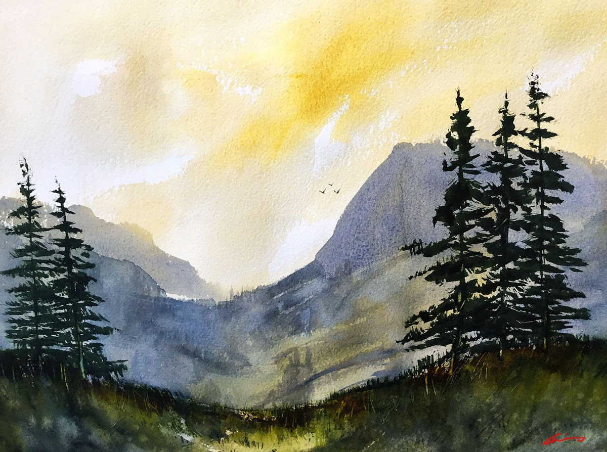 #WorldWatercolorGroup - Watercolor by Posey Gaines - Morning Has Broken - Doodlewash