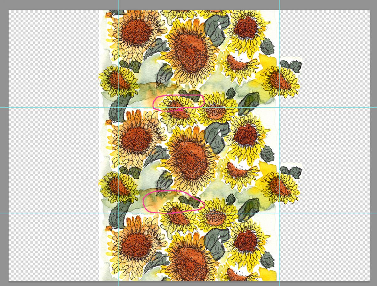 Creating repeating pattern Photoshop fabric print