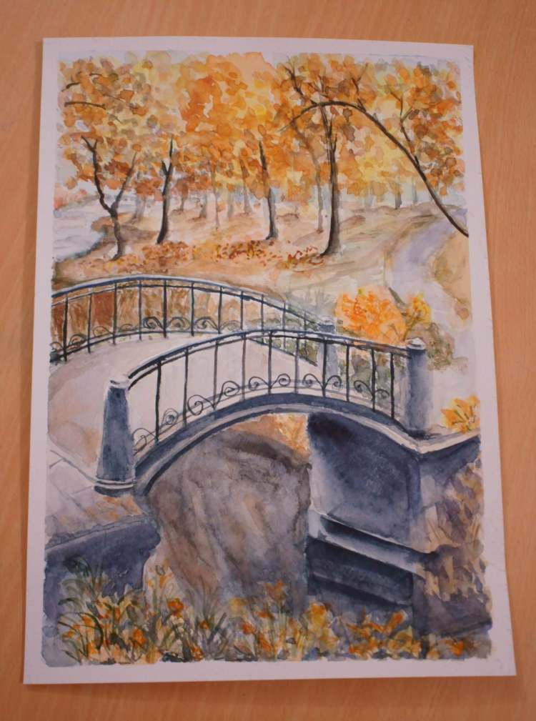 An autumn park. First I've found a photo of this beautiful park and a bridge, and then I could