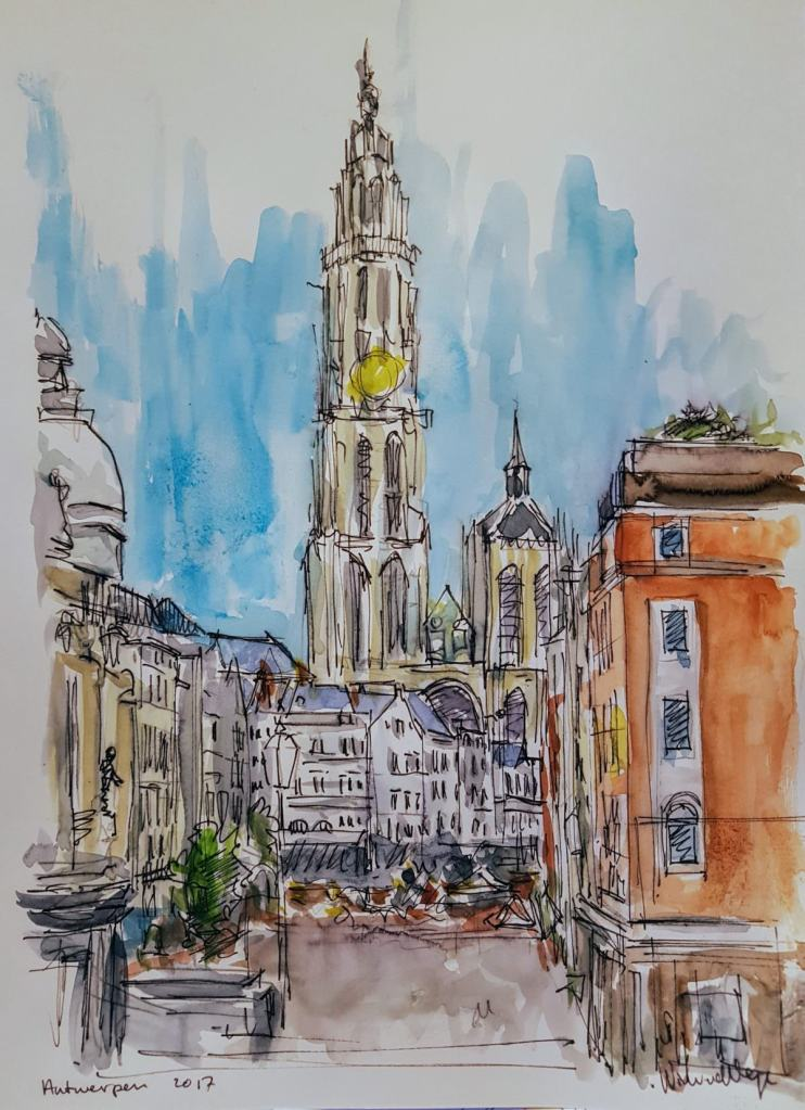 Cathedral Antwerp (Belgium) with pen and watercolor 20×30 cm 20170912_195436