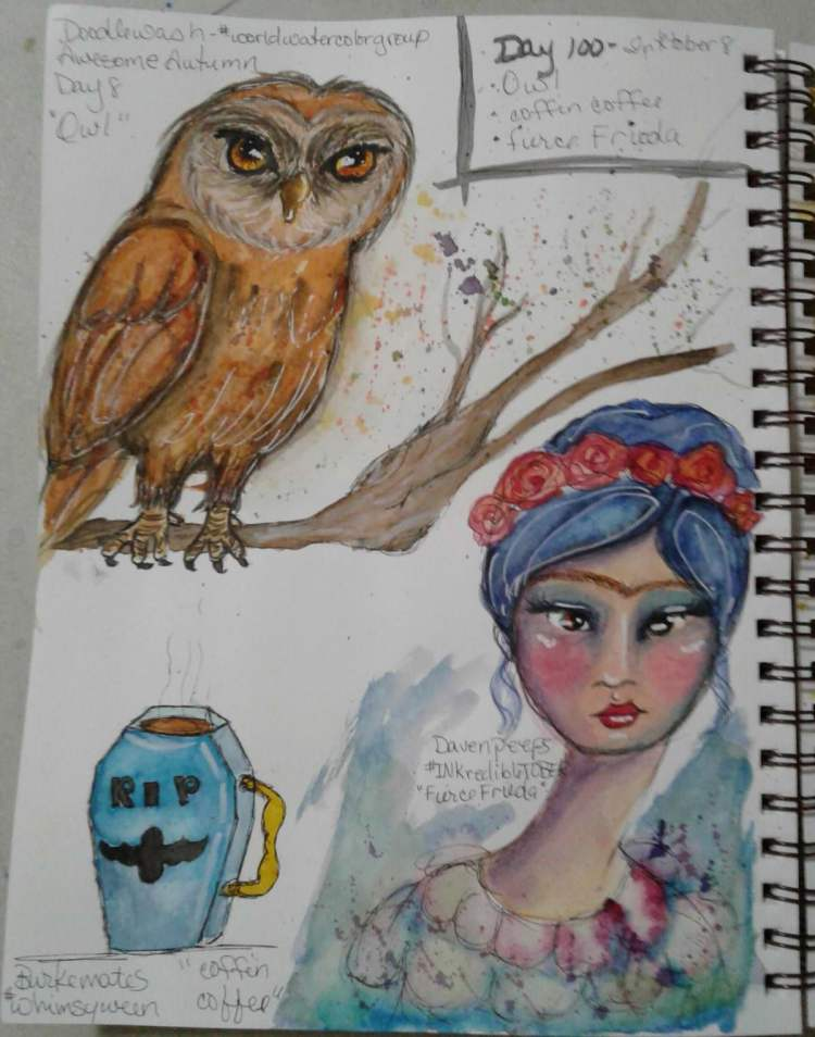 Day 100…owl, coffin coffee, fierce Frieda. Not only was Sunday's sketches day 8 of #inkt