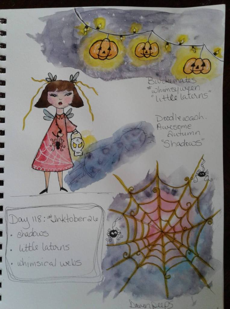 Day 118…shadows, little laterns, whimsical webs. Day 26 of #inktober. Ever since she read Pete