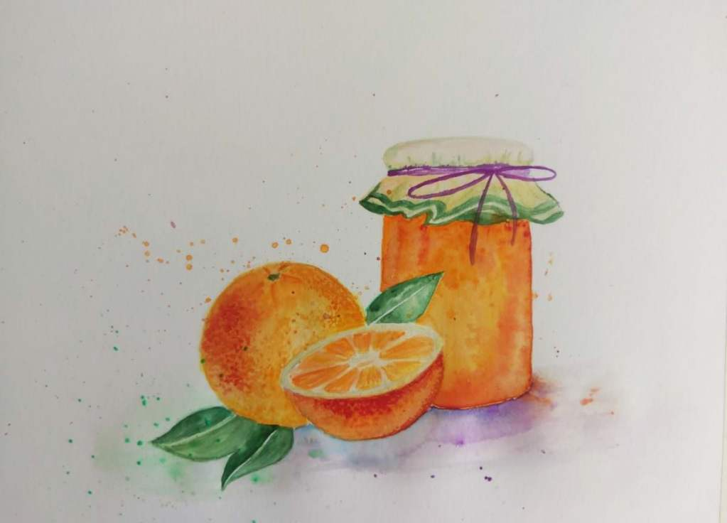 Orange and orange jam 🙂 BTW, I am on diet, so it was extra hard to paint orange jam 😀 Awesome