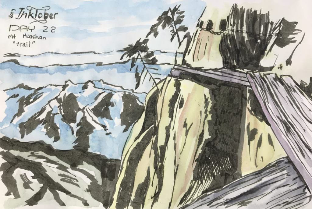 """Inktober 2017 – Day 22 Mt Huashan """"trail"""". Ink and watercolour on cartridge paper."""