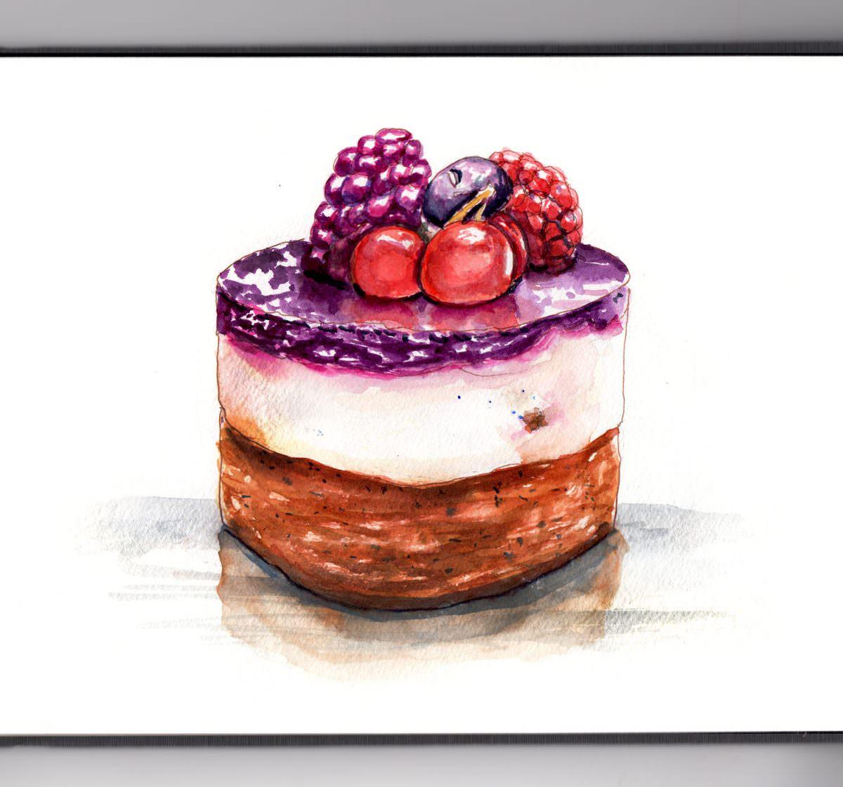 #WorldWatercolorGroup - Day 13 - Dessert Break - French Pastry - Doodlewash