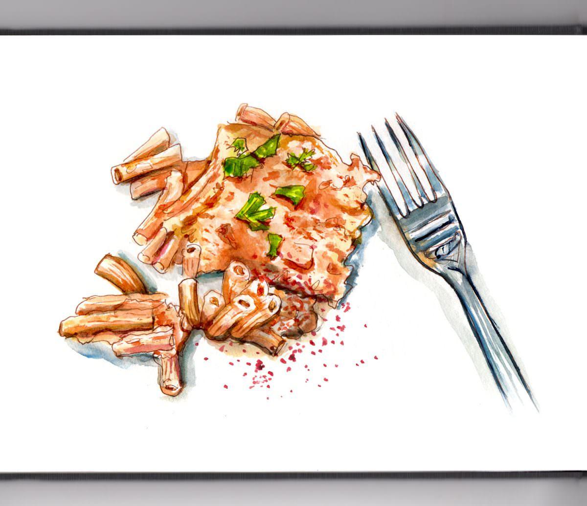 #WorldWatercolorGroup - Cozy Mac & Cheese - Doodlewash