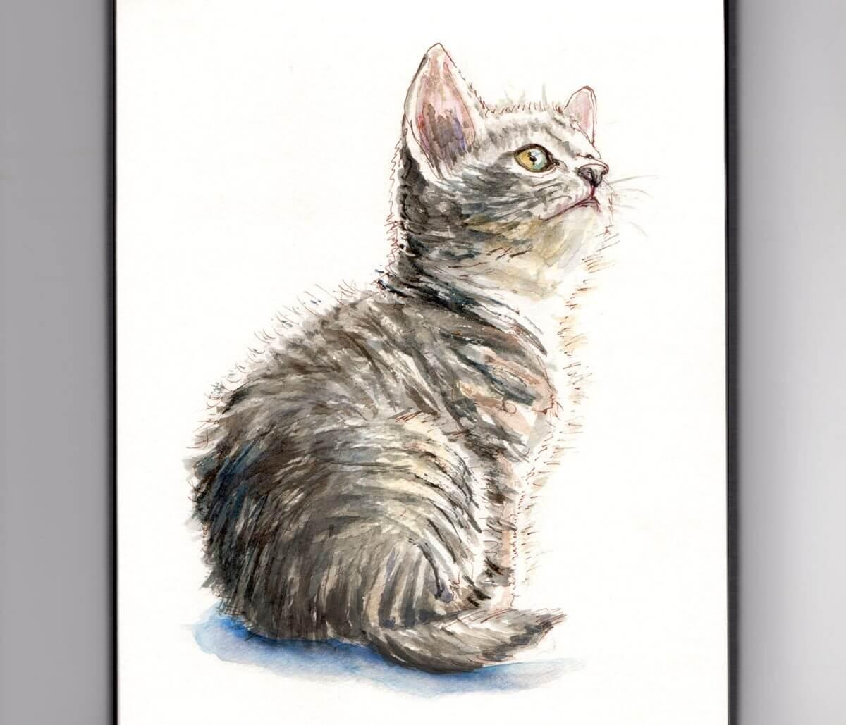 #WorldWatercolorGroup - Day 23 - A Little Cat - Doodlewash