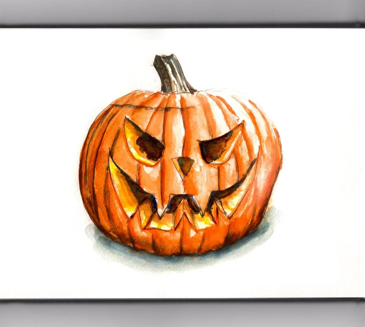 #WorldWatercolorGroup - Day 30 - Carving Pumpkins - Doodlewash