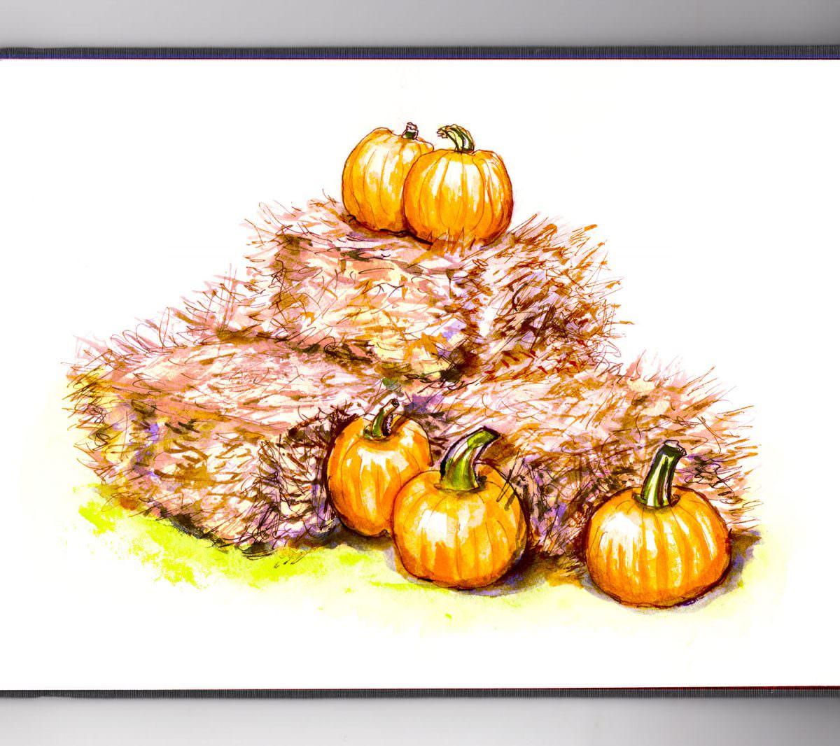 #WorldWatercolorGroup - Day 4 _ Pumpkins In The Hay Watercolor - Doodlewash