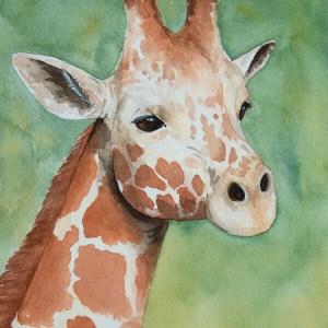 Giraffe Portrait – Watercolor Print [8×10]