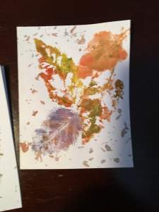 Watercolor stencils with leaves from my yard. IMG_3431
