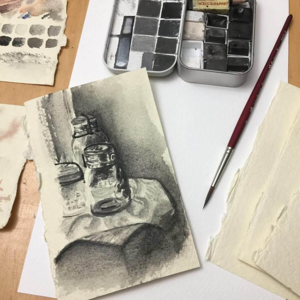 Mason Jar tonal study on flax paper (water soluble graphite) IMG_6294
