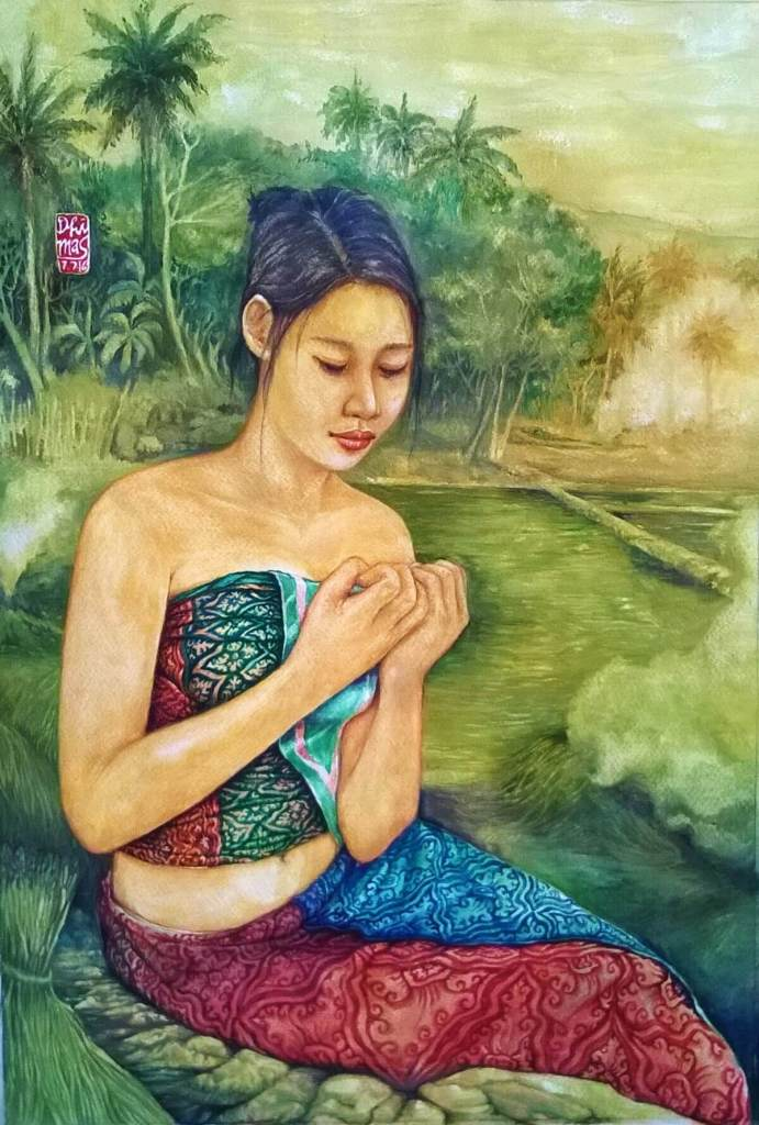 Javanese girl in paddy field