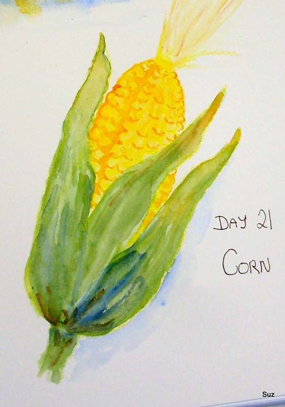 #WorldWatercolorGroup October Challenge I love corn, especially corn on the cob with salt and pepper