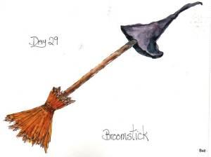 #WorldWatercolorGroup October Challenge #Inktober2017 #Zensations broomstick 001