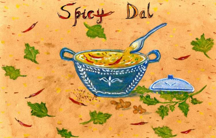 I decided to take a leaf out of Charlie's book and post this illustrated recipe of Spicy Dal f