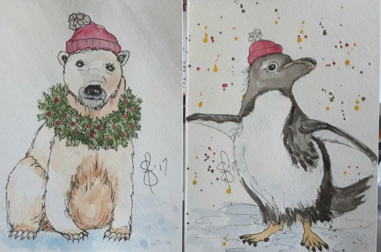 A smiling polar bear and dancing penguin have become Christmas cards too. Artist Susan Feniak. All m