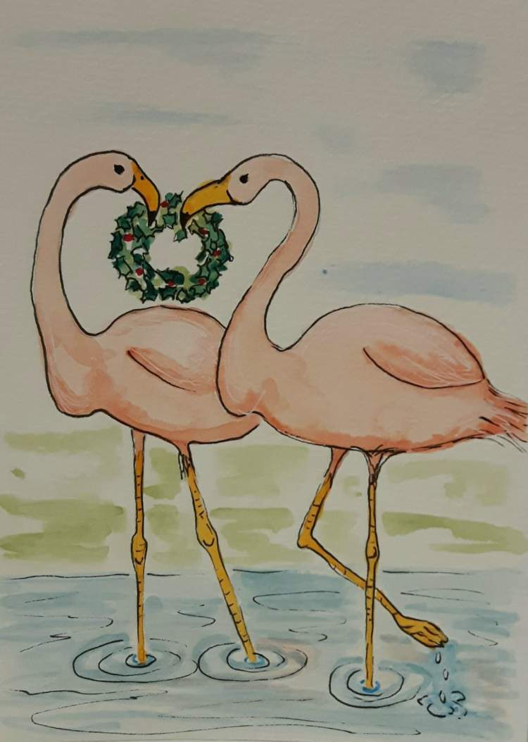 All the snow we had earlier this weekend had me thinking of warm sunny places. Flamingos celebrate C