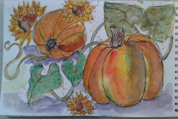 Day 144…pumpkins. Pumpkins…. I love painting pumpkins. They are a fun shape and I get to