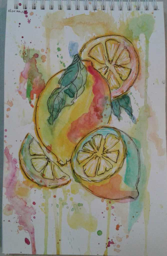 Day 145…lemons. I realized a couple of things last night while I was painting. One, I enjoy po