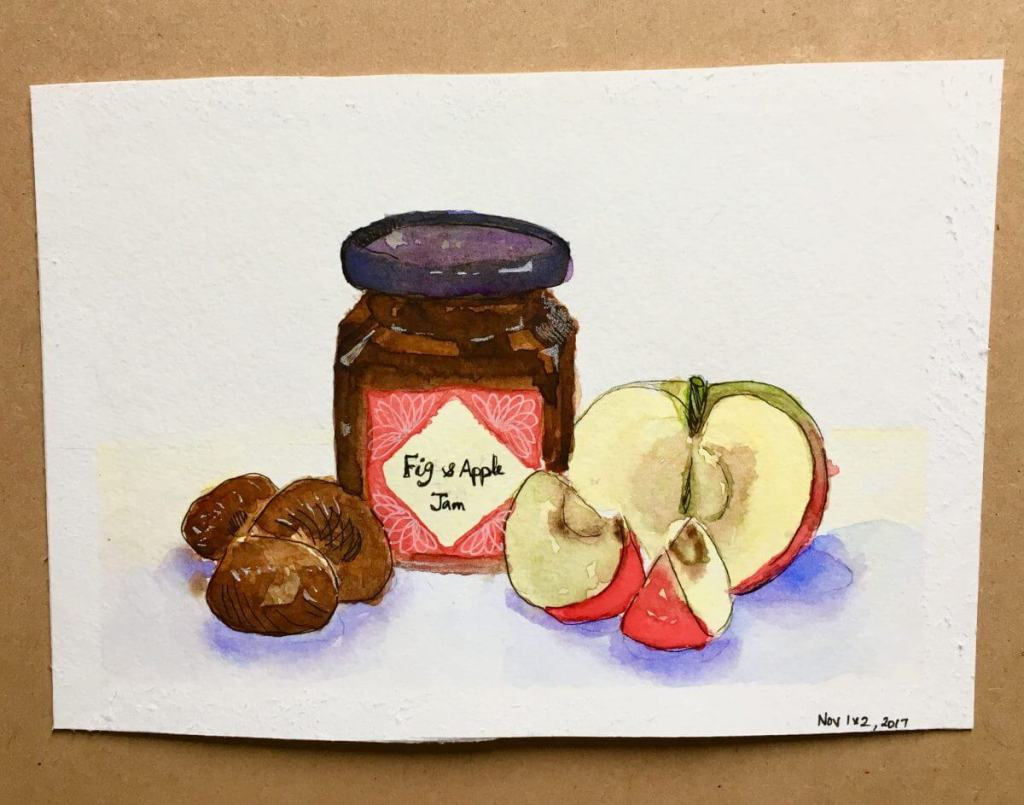 I just combined the prompts for November 1,2 from the November watercolour challenge .. figs and app