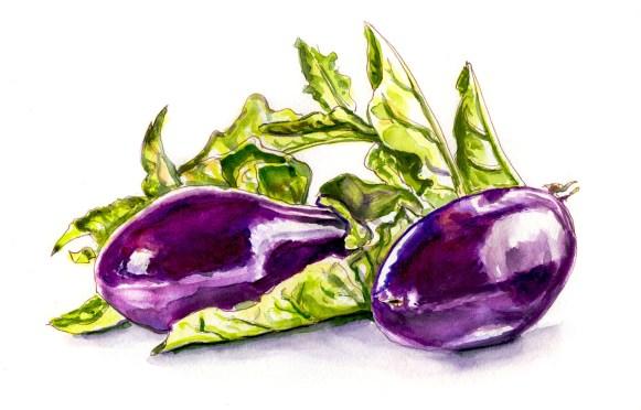 #WorldWatercolorGroup - Day 19 - Eggplant Or Aubergine - Doodlewash