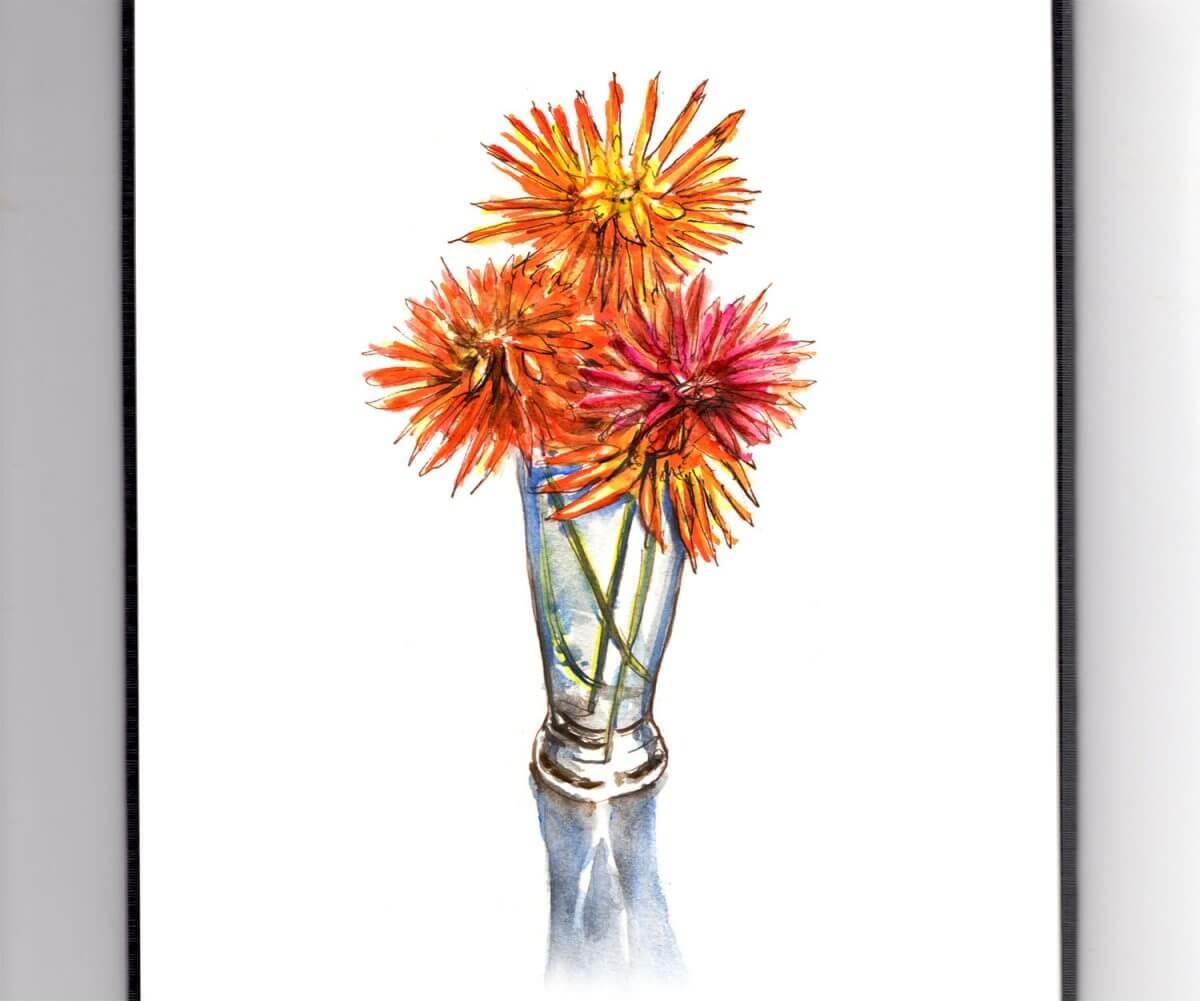 #WorldWatercolorGroup - Day 4 - Autumn Flowers - Doodlewash