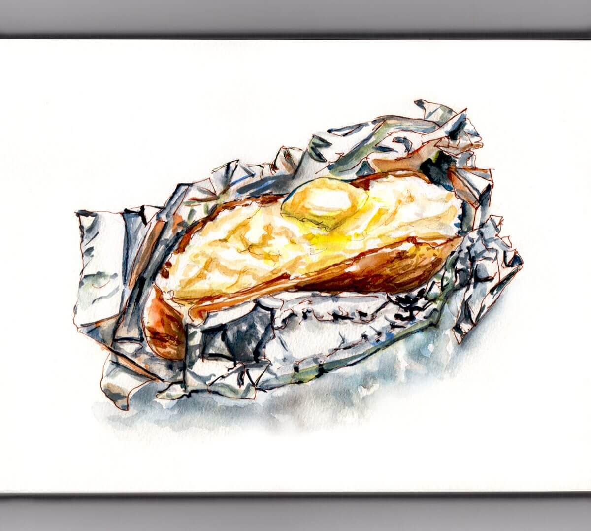 #WorldWatercolorGroup - A Baked Potato In Foil - Doodlewash
