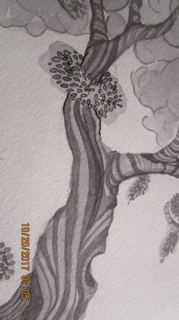 A doodled tree, ummm is ink accepted as watercolor here when used in different densities??? sorry if