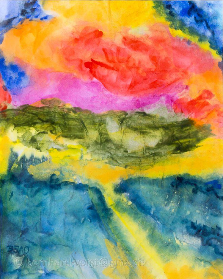 Wolken hinter den Dünen (inspiriert von E. Nolde) Aquarell, Japanpapier, 25,7cm x 36,4cm, 45 g/m²
