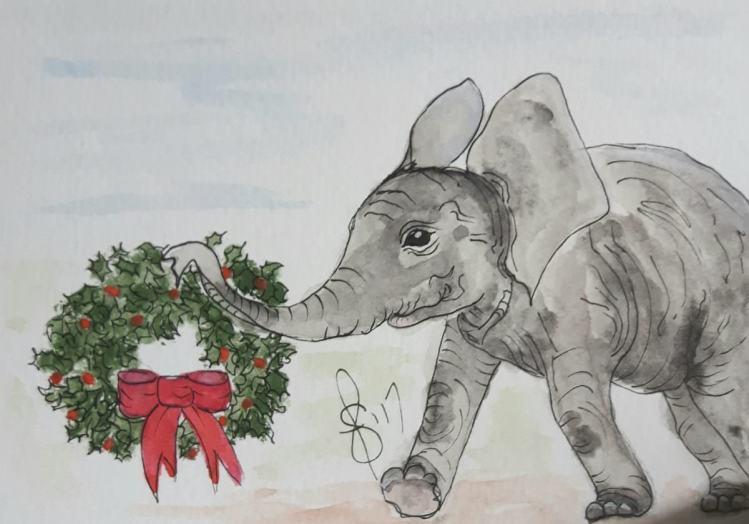 Esther the Elephant. Artist Susan Feniak. Original art using QOR water colour on Strathmore card sto