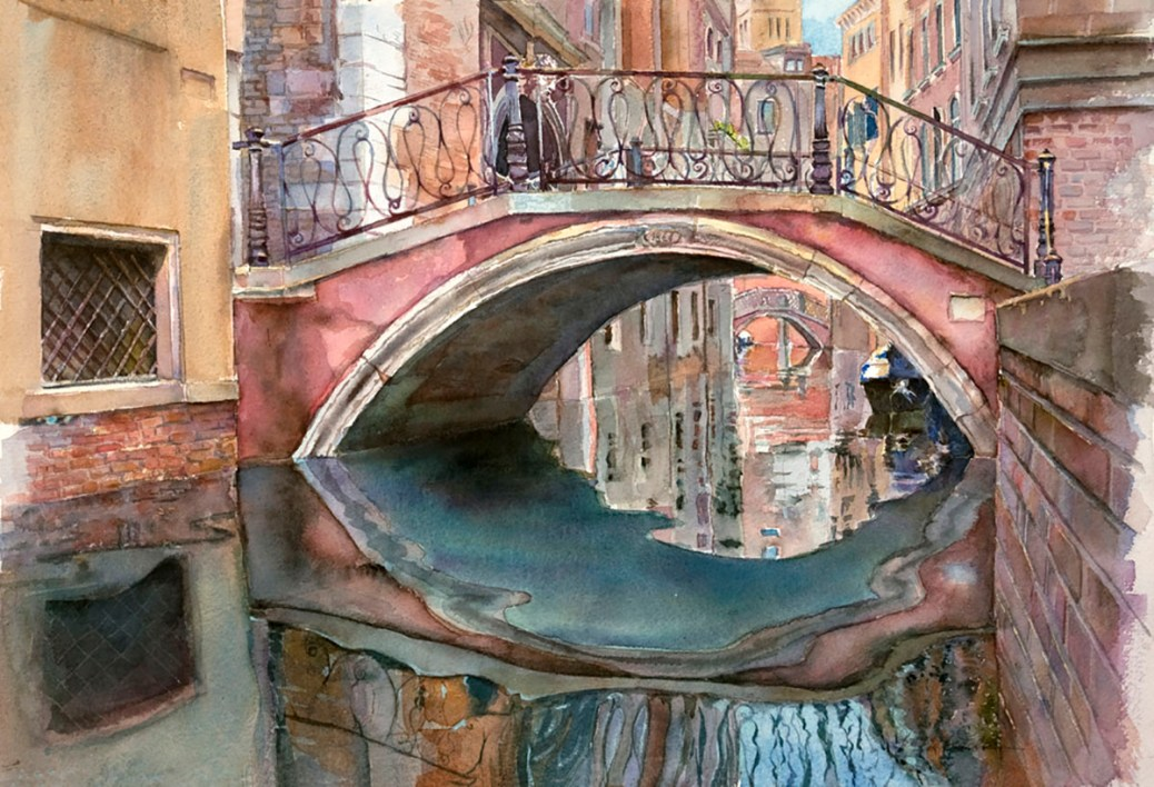 """#WorldWatercolorGroup - Watercolor by Helen K. Beacham - """"Venice: Over and Under"""". Watercolor in a Private Collection. Reproductions available. - Doodlewash"""