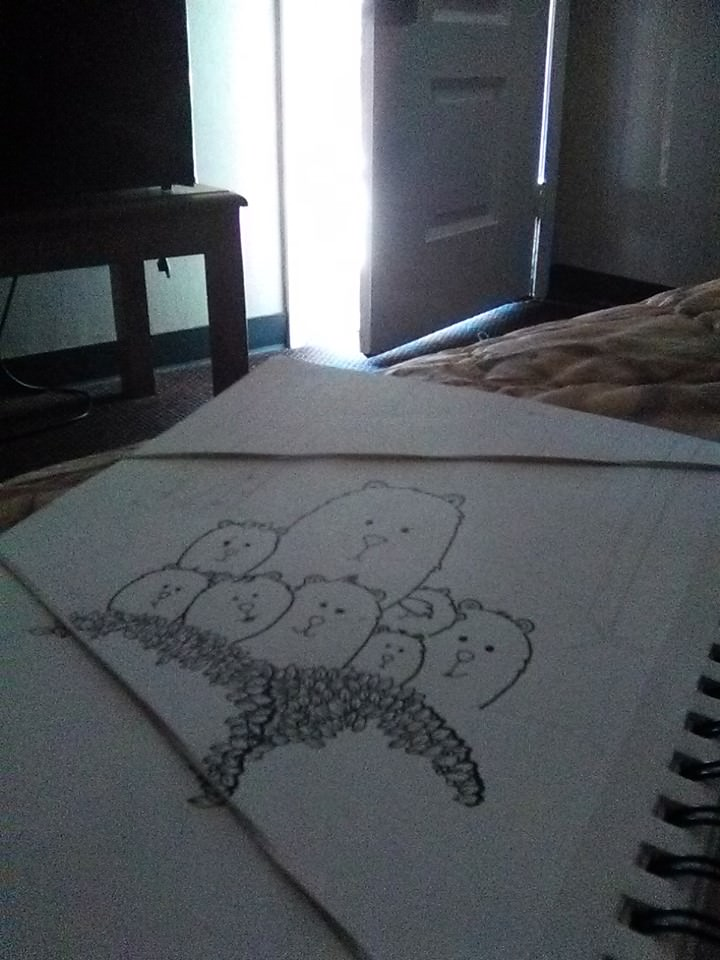 Liz, this is my bears in woods, during creation in my hotel room. Somewhere in a sketchbook is the f