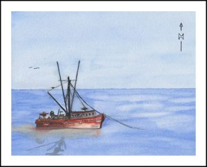 Fishing Boat 001, first piece at filling the whole sheet with a fishing boat. Arches 140lb. Cold Pre