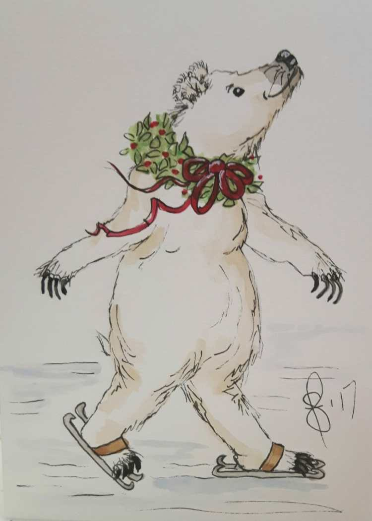 Skating Polar bear. Another one of my cards. Artist Susan Feniak. Koi watercolour on Strathmore card